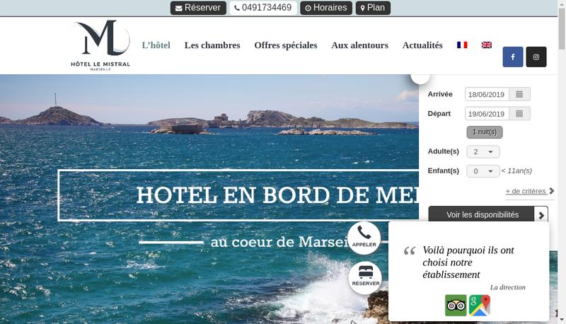 Capture d'écran du site de Hotel le Mistral