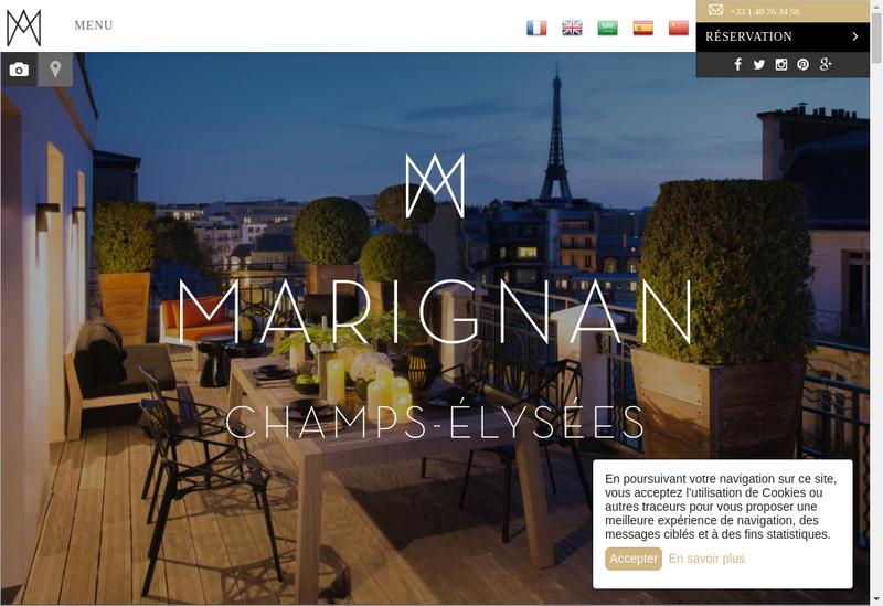 Capture d'écran du site de Hotel Marignan