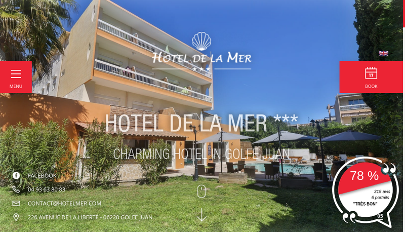Capture d'écran du site de Hotel de la Mer