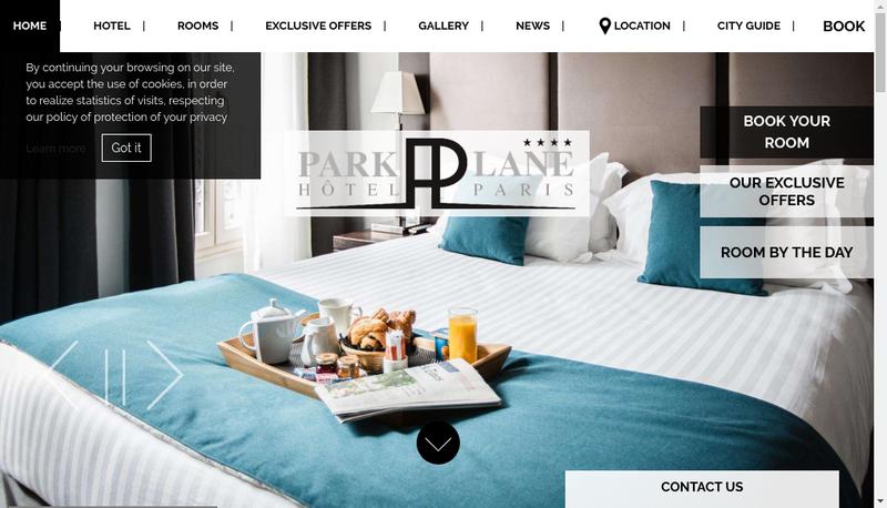 Capture d'écran du site de Park Lane