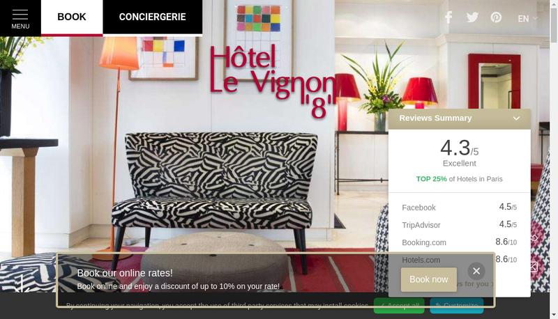 Capture d'écran du site de Hotel Vignon