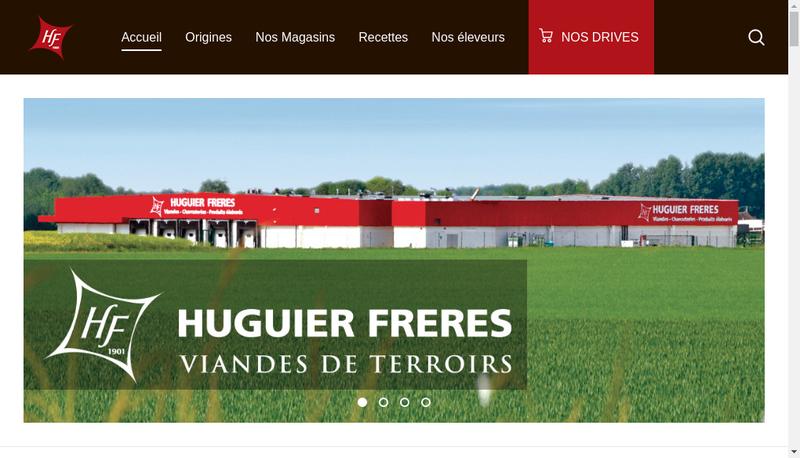 Capture d'écran du site de Huguier Freres