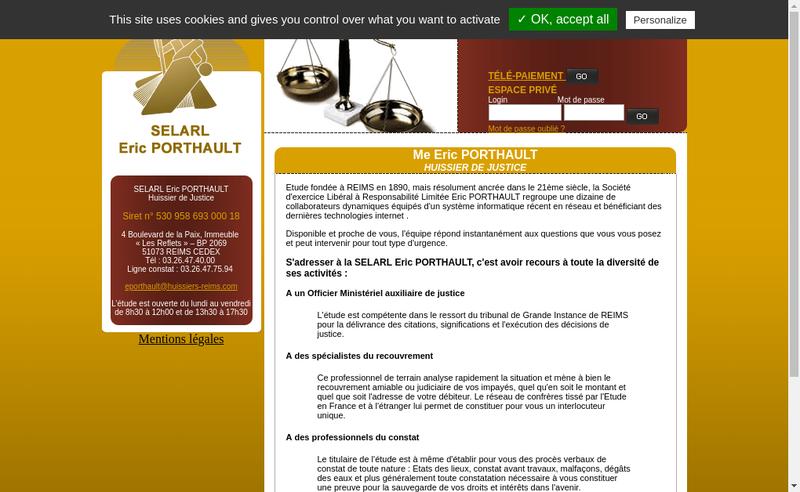 Capture d'écran du site de Eric Porthault