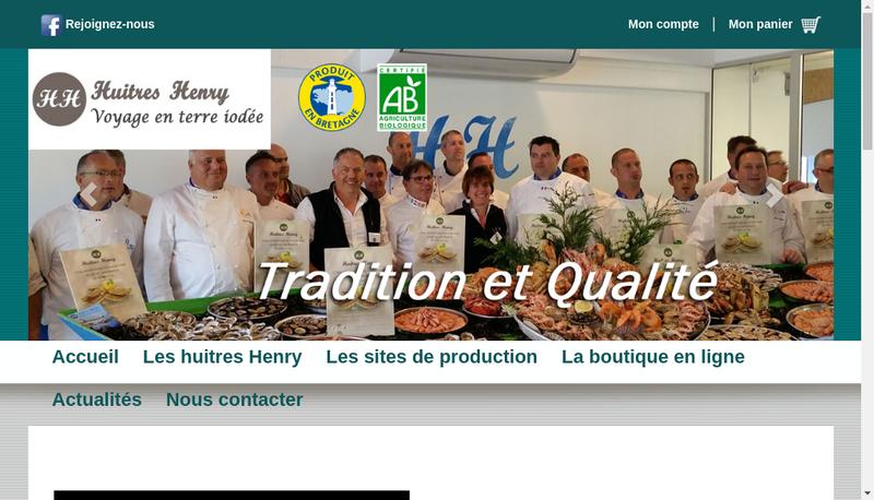 Capture d'écran du site de Huitres Henry