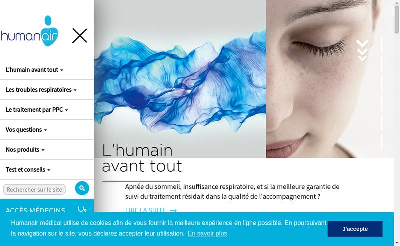 Capture d'écran du site de Humanair Medical