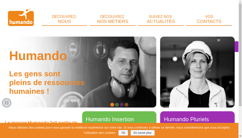 Capture d'écran du site de Humando