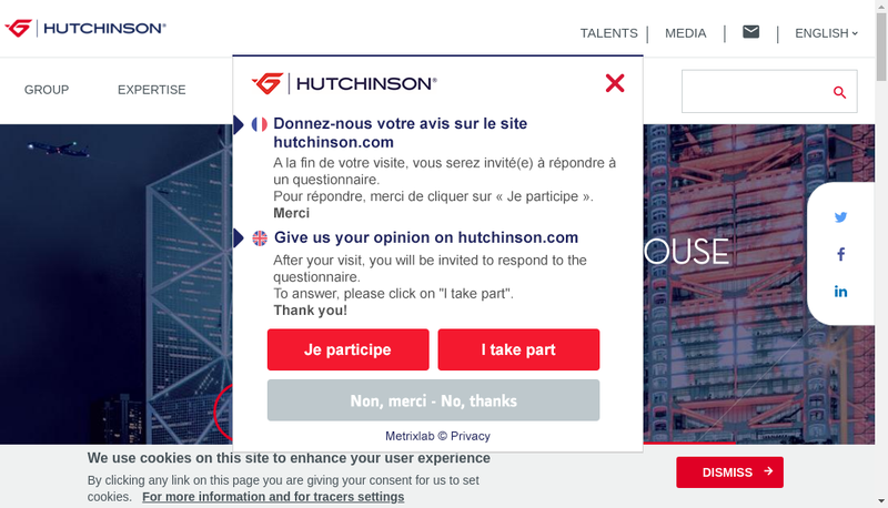 Capture d'écran du site de Hutchinson Polymers