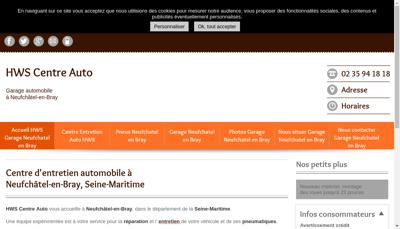 Capture d'écran du site de Hws Centre Auto