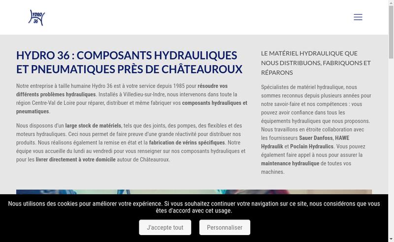 Capture d'écran du site de SARL Hydro 36