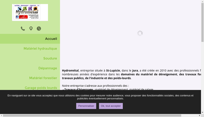 Capture d'écran du site de Hydrometal