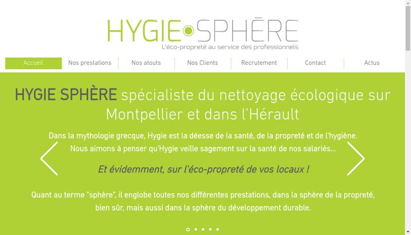 Capture d'écran du site de Hygie Sphere
