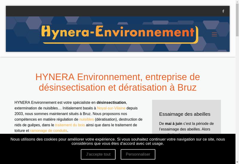 Capture d'écran du site de Hynera Environnement