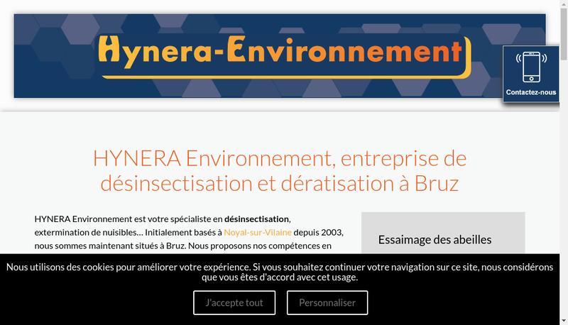Capture d'écran du site de Hynera-Environnement