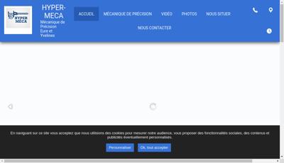 Capture d'écran du site de SARL Hyper Meca