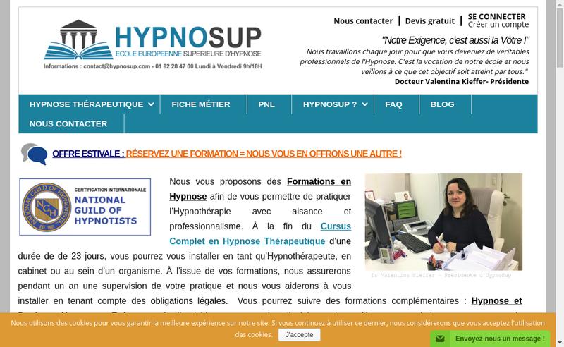 Capture d'écran du site de Hypno Sup