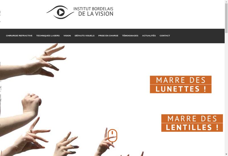 Capture d'écran du site de Institut Bordelais de la Vision
