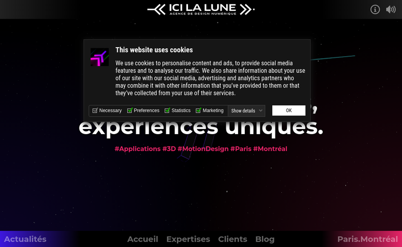 Capture d'écran du site de ICI LA LUNE