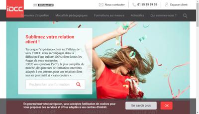 Capture d'écran du site de Institut du Contact Client