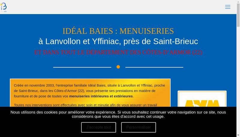 Capture d'écran du site de Ideal Baies