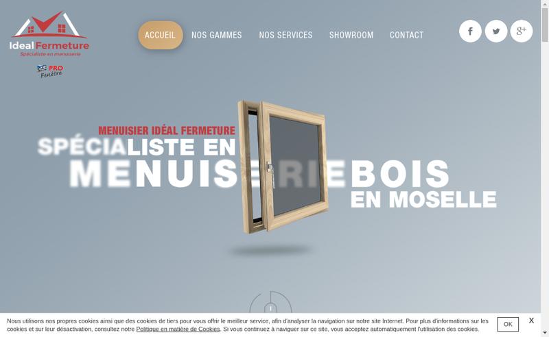 Capture d'écran du site de Ideal Fermeture