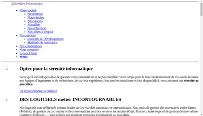 Capture d'écran du site de Ideation Informatique