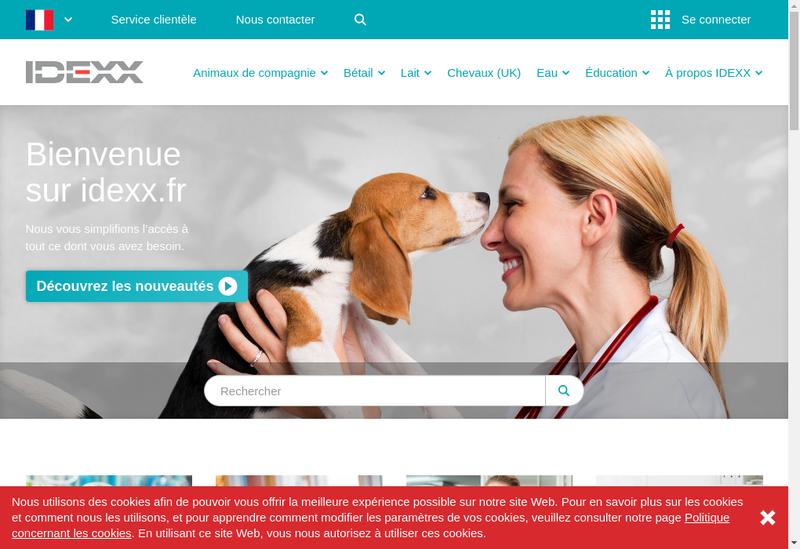 Capture d'écran du site de Idexx