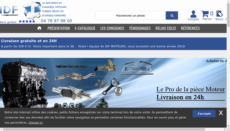 Capture d'écran du site de Culasses Moteurs Center - CMC