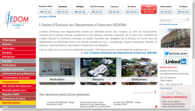 Capture d'écran du site de Institut Emission Departements Outre M