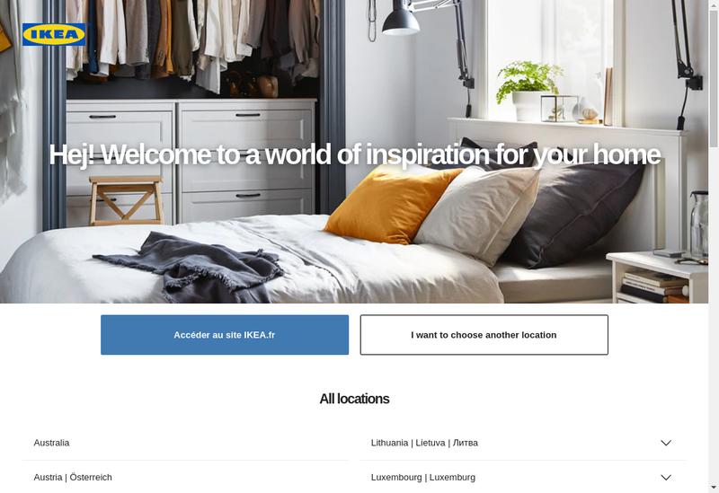 Capture d'écran du site de IKEA