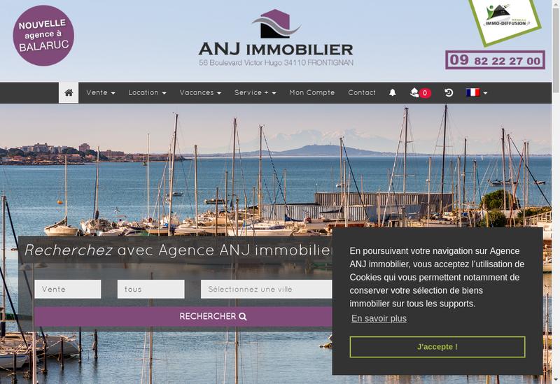Capture d'écran du site de Anj Immobilier