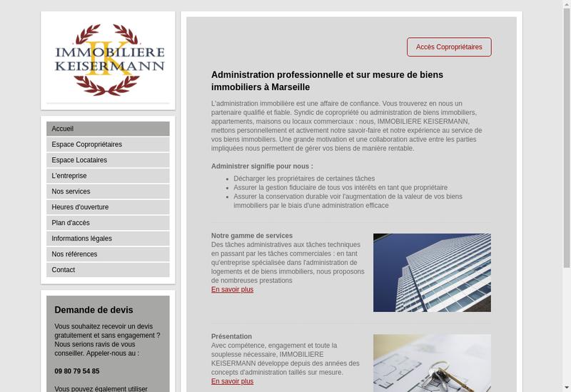 Capture d'écran du site de Immobiliere Keisermann