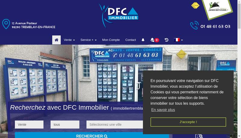 Capture d'écran du site de DFC Immobilier