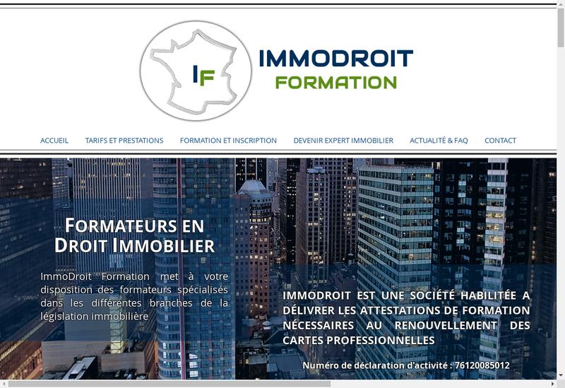 Capture d'écran du site de Immodroit Formation