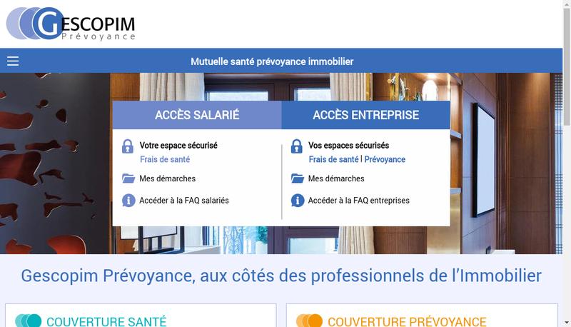Capture d'écran du site de Gescopim Prevoyance
