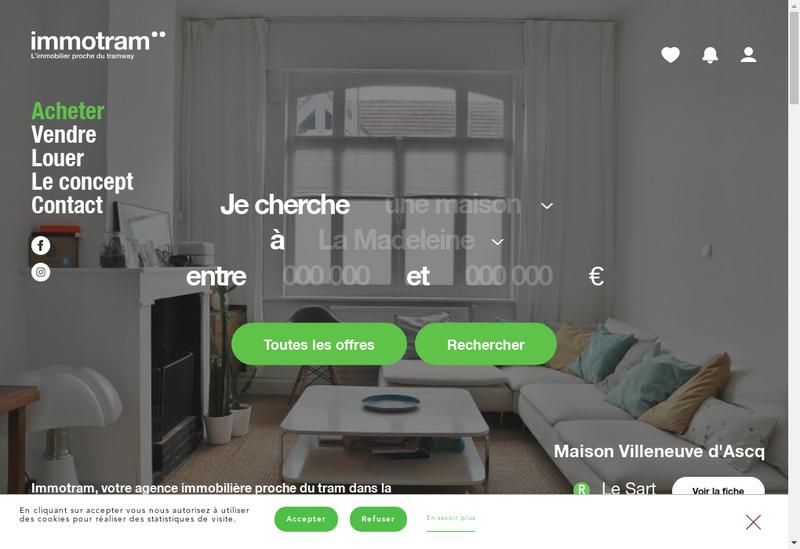 Capture d'écran du site de Immotram