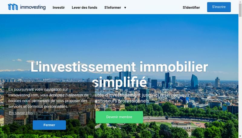 Capture d'écran du site de Immovesting