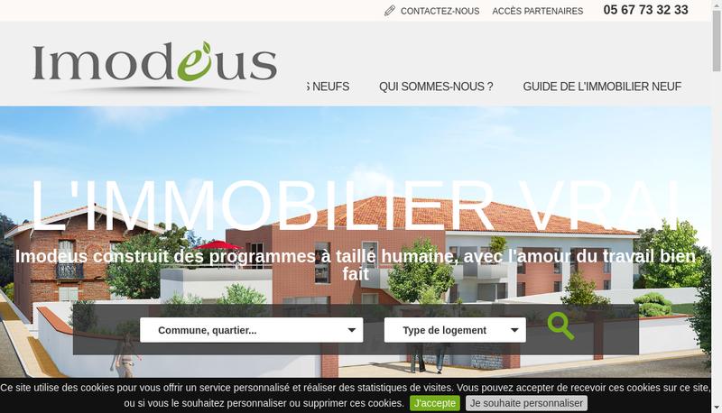 Capture d'écran du site de Imodeus