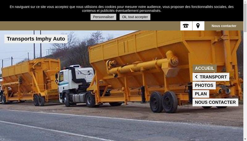 Capture d'écran du site de Transports Imphy Auto