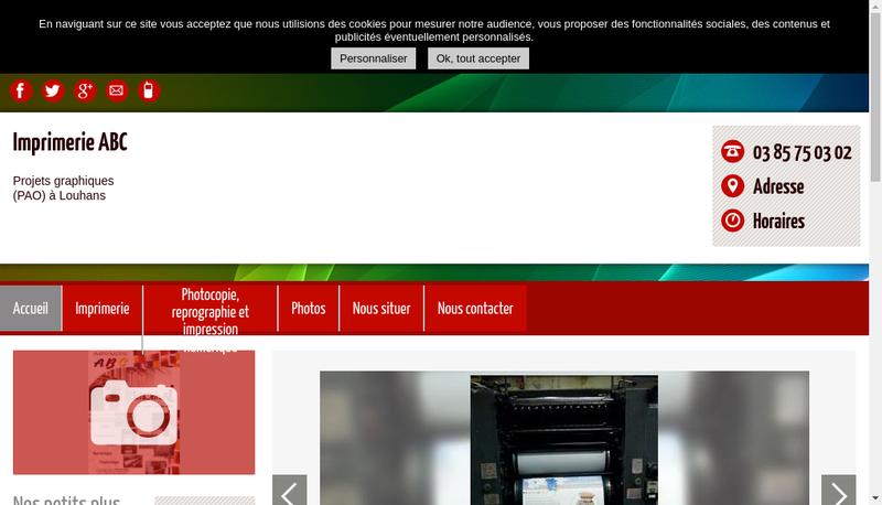 Capture d'écran du site de Imprimerie Abc