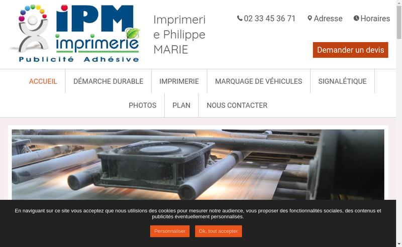Capture d'écran du site de Imprimerie Philippe Marie