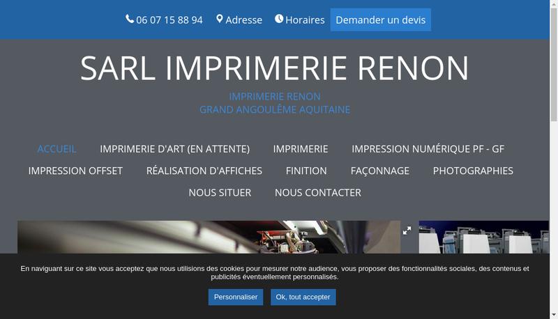 Capture d'écran du site de SARL Imprimerie Renon