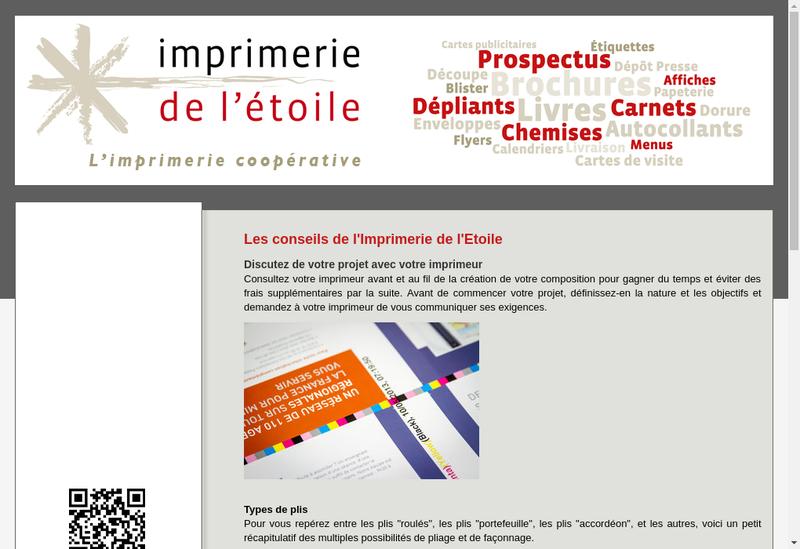 Capture d'écran du site de Imprimerie de l'Etoile