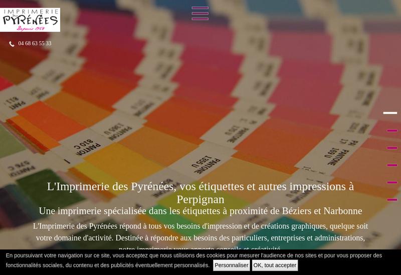 Capture d'écran du site de Imprimerie des Pyrenees