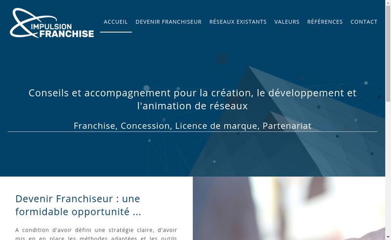 Capture d'écran du site de Impulsion Franchise