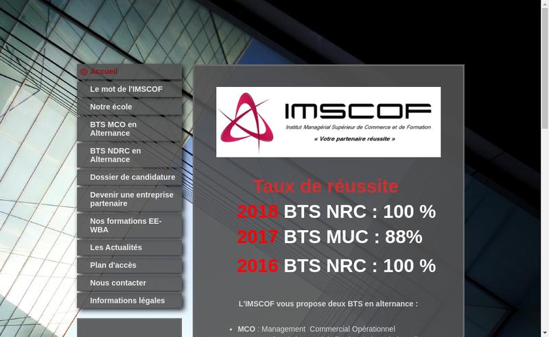 Capture d'écran du site de imscof
