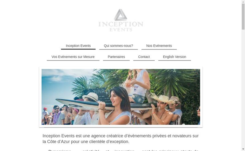 Capture d'écran du site de Inception Events