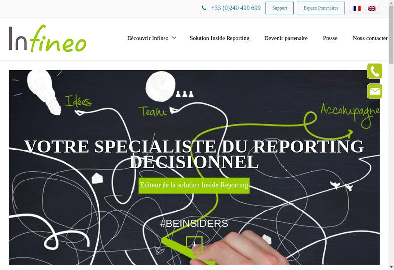 Capture d'écran du site de Infineo