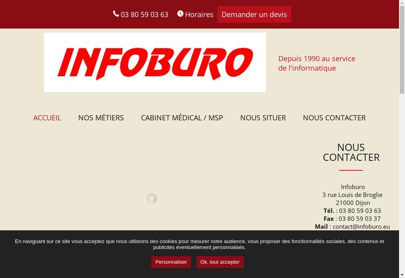 Capture d'écran du site de Infoburo