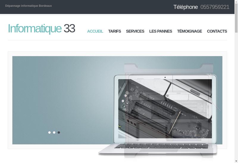 Capture d'écran du site de 33 Informatique