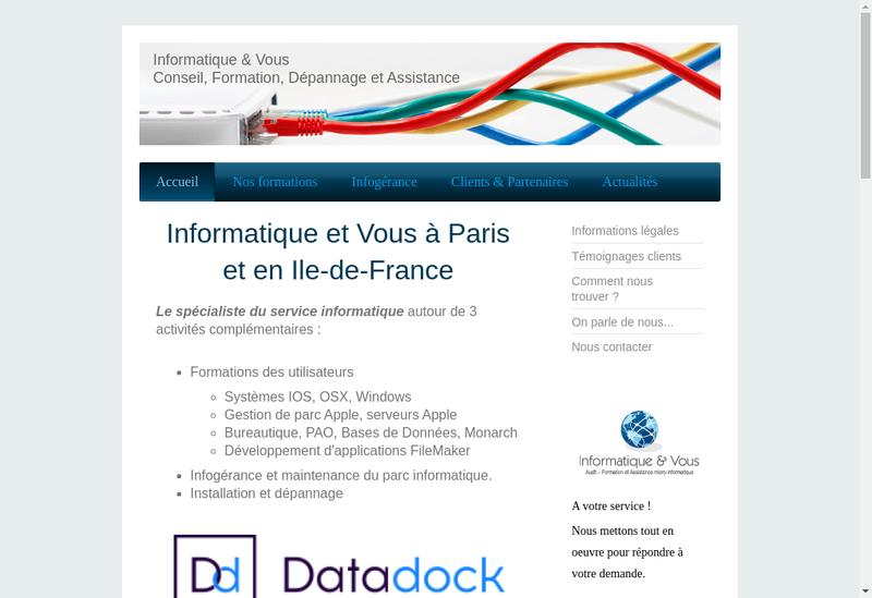 Capture d'écran du site de Informatique et Vous